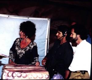 "Russell Bobbitt and Elizabeth Taylor on the set of ""The Flintstones"""