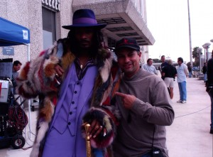"Russell Bobbitt with Snoop on the set of ""Starsky and Hutch"""